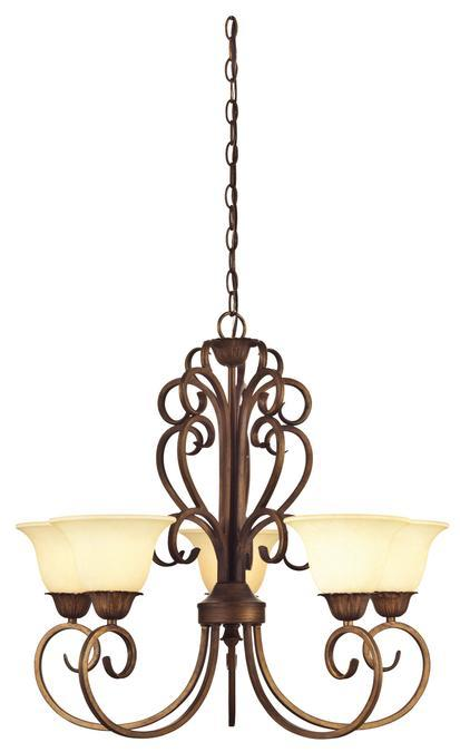 5 Light Chandelier Ebony Gold Finish with Burnt Scavo Glass