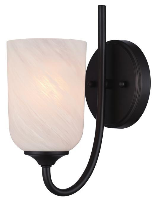 1 Light Wall Fixture Espresso Finish with White Alabaster Glass