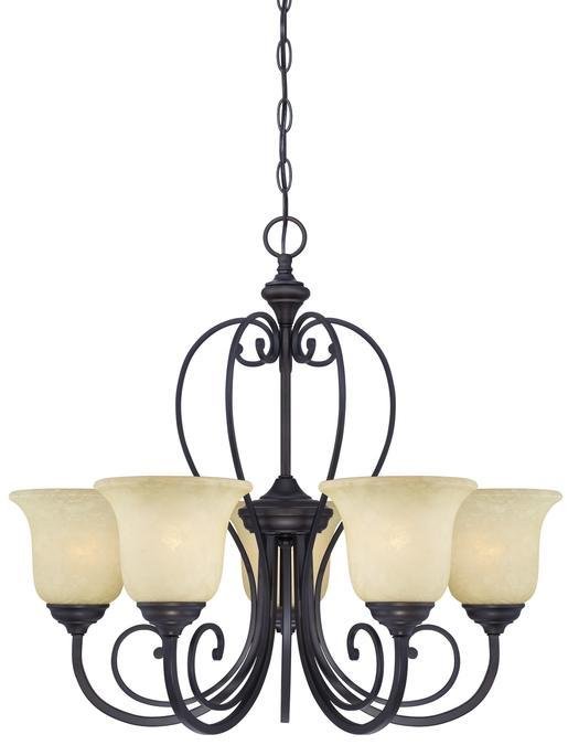 5 Light Chandelier Oil Rubbed Bronze Finish with Caramel Scavo Glass