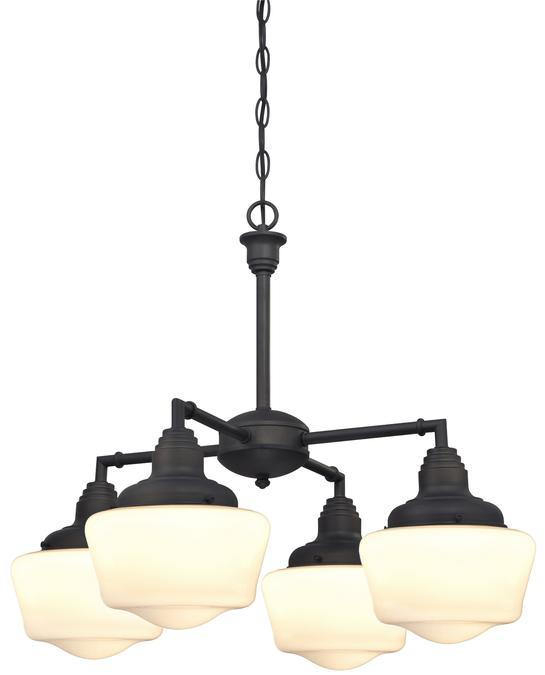 4 Light Chandelier/Semi-Flush Oil Rubbed Bronze Finish with White Opal Glass
