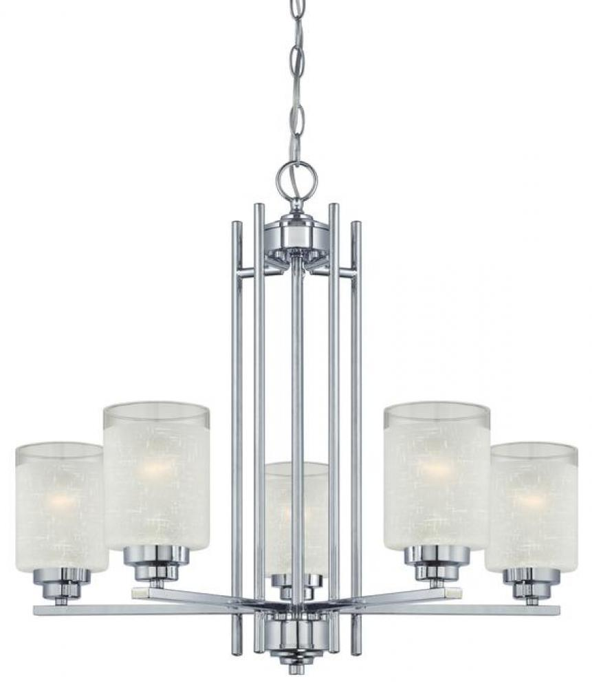 5 Light Chandelier Chrome Finish with White Linen Glass and Translucent Band