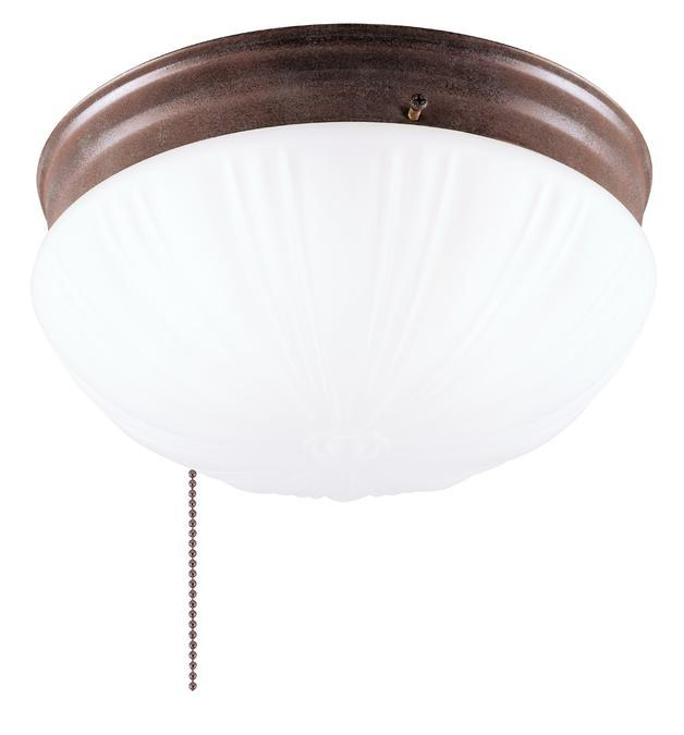 2 Light Flush with Pull Chain Sienna Finish with Frosted Fluted Glass