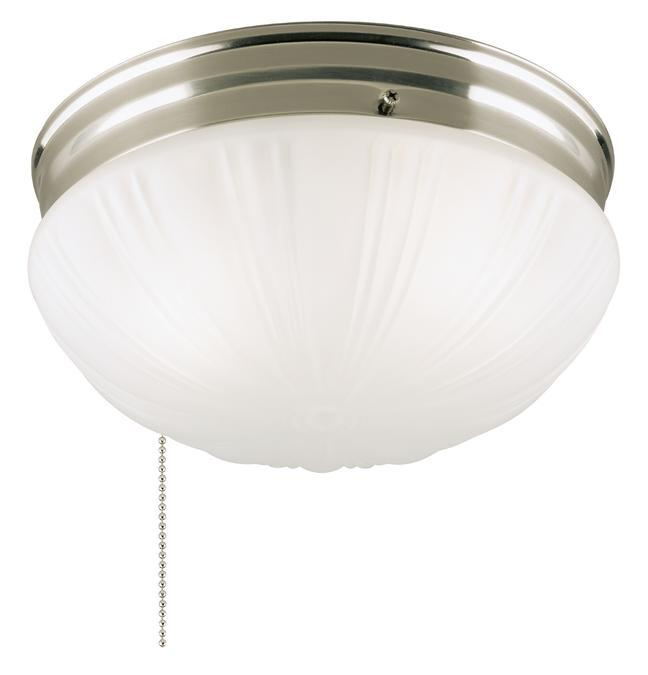 2 Light Flush with Pull Chain Brushed Nickel Finish with Frosted Fluted Glass