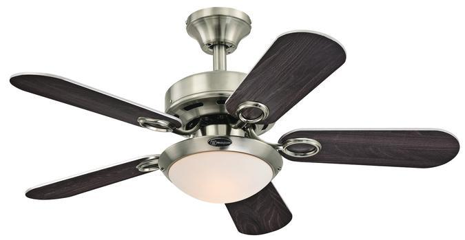 "36"" Brushed Nickel Finish Reversible Blades (Wengue/Silver) Includes Light Kit with Opal Frosted"