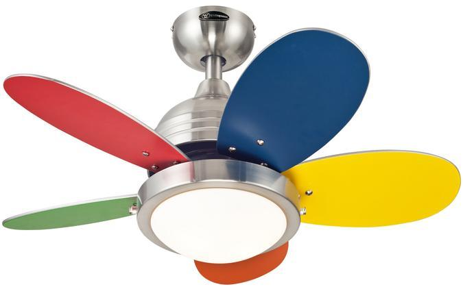 "30"" Brushed Nickel Finish Reversible Blades (Multi-Color/White) Includes Light Kit with Opal"