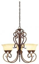 Westinghouse 6220600 - 5 Light Chandelier Ebony Gold Finish with Burnt Scavo Glass