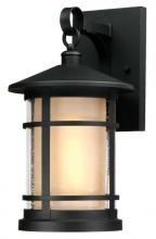 Westinghouse 6312400 - 1 Light Medium Wall Fixture Textured Black Finish with Amber Frosted and Clear Seeded Glass