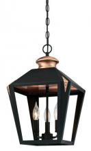 Westinghouse 6328500 - 3 Light Pendant Matte Black Finish with Copper Accents