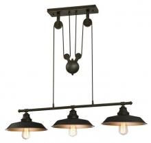 Westinghouse 6332500 - 3 Light Island Pulley Pendant Oil Rubbed Bronze Finish with Highlights and Metallic Bronze Interior