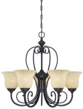 Westinghouse 6340700 - 5 Light Chandelier Oil Rubbed Bronze Finish with Caramel Scavo Glass