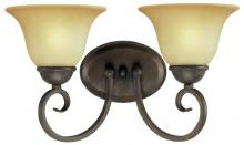 Westinghouse 6659300 - 2 Light Wall Fixture Ebony Bronze Finish with Aged Alabaster Glass