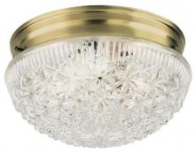 Westinghouse 6661000 - 2 Light Flush Antique Brass Finish with Clear Faceted Glass